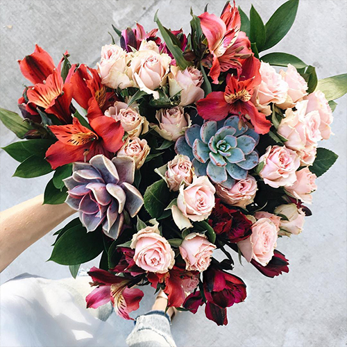 Pink Spray Roses, Peruvian Lilies and Succulent Flowers