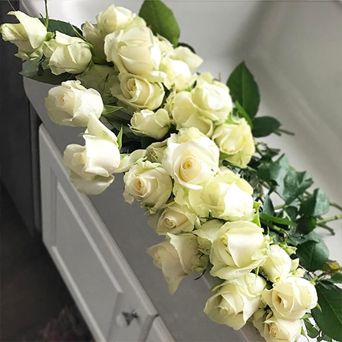 Ivory White Roses In A White Sink