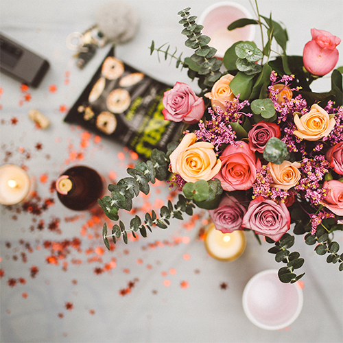 Yellow And Pink Roses With Eucalyptus Sprays