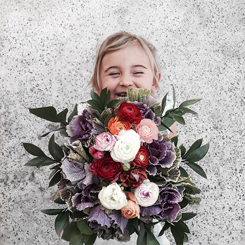 Child Holding An Arrangement of Purple Kale and Ranunculus